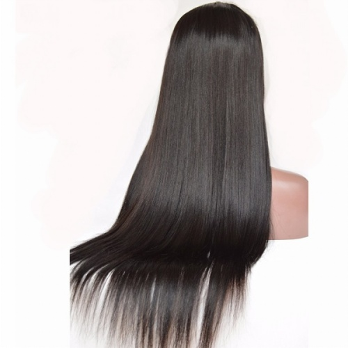 Silk top lace wigs human hair straight for African American