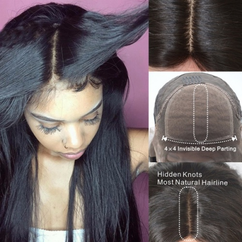 Silk Top Wig Human Hair Straight For African American Nana Hair