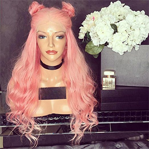 Natural Wave Pink Color Glueless Full Lace