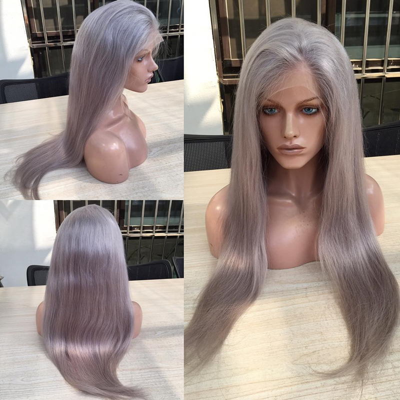 Grey lace front wig Peruvian color wig straight full lace wig